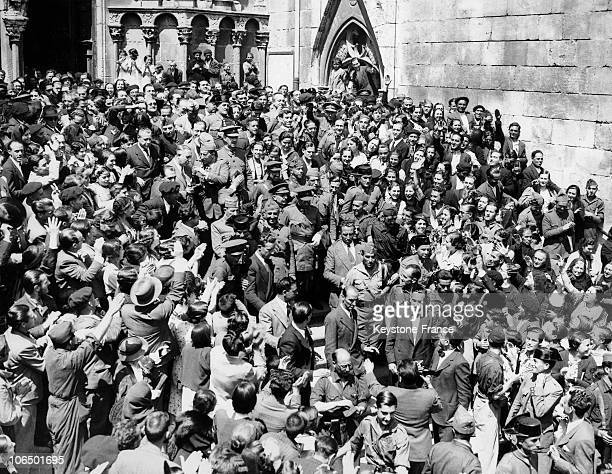 The Crowd Greeting Generals Franco And Mola As They Were Heading For The Cathedral Of Burgos On August 19 1936For The First Time The Representatives...