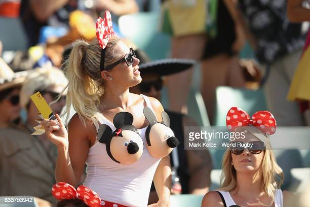 The crowd in fancy dress enjoy the atmosphere during action in the 2017 HSBC Sydney Sevens at Allianz Stadium on February 4 2017 in Sydney Australia