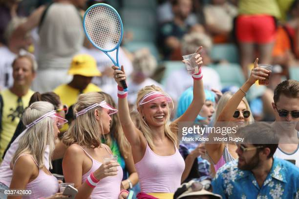 The crowd in fancy dress enjoy ther atmosphere during action in the 2017 HSBC Sydney Sevens at Allianz Stadium on February 4 2017 in Sydney Australia