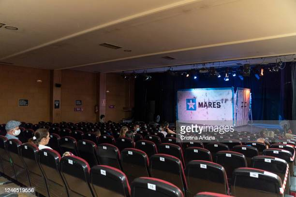 The crowd is seen at the Carabela show at the Casa de la Cultura on June 5 2020 in Muros A Coruña Spain Carabela is the first theatre show to be...