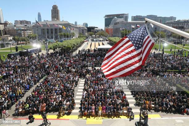 The crowd is shown assembled for the inauguration of Mayorelect London Breed at City Hall July 11 2018 in San Francisco California