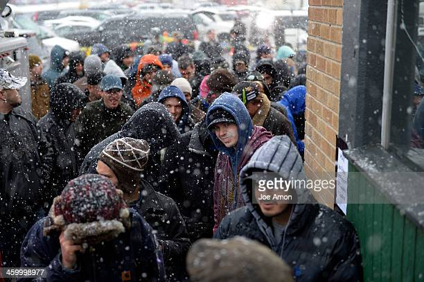 The crowd kept growing during the first day of legal recreational marijuana sales at the 3D Cannabis Center in Denver Colorado January 01 2014 Denver...