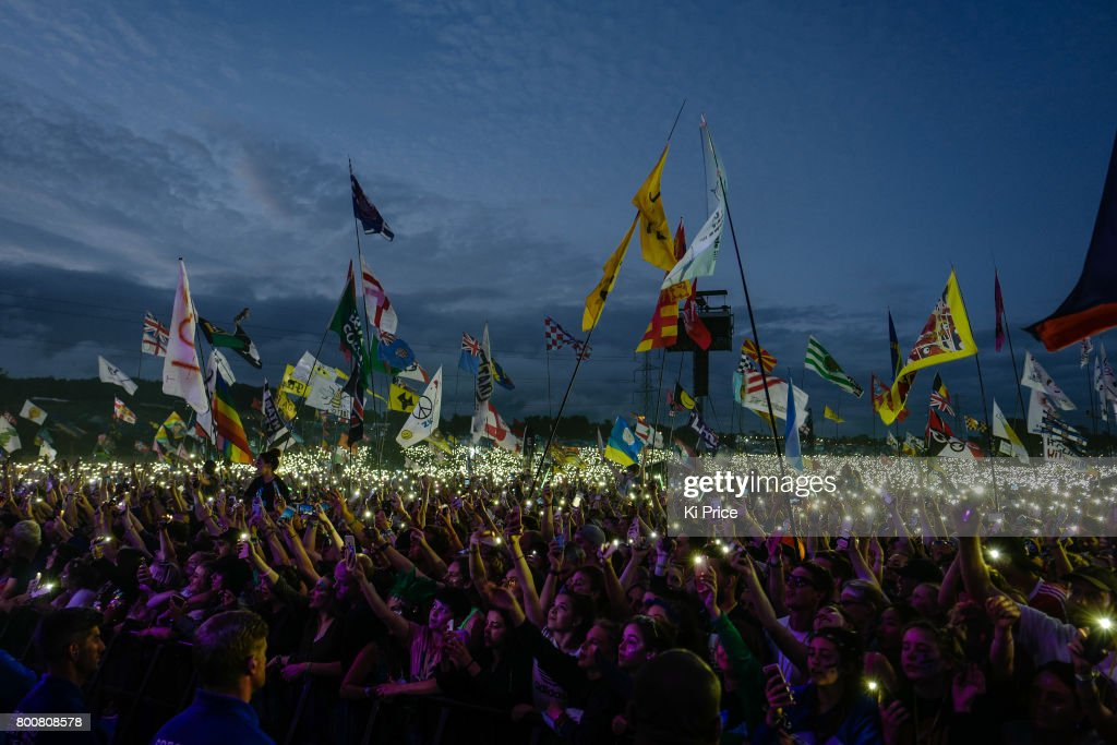 The crowd lights up as Ed Sheeran performs on the Pyramid stage on day 4 of the Glastonbury Festival 2017 at Worthy Farm, Pilton on June 25, 2017 in Glastonbury, England.
