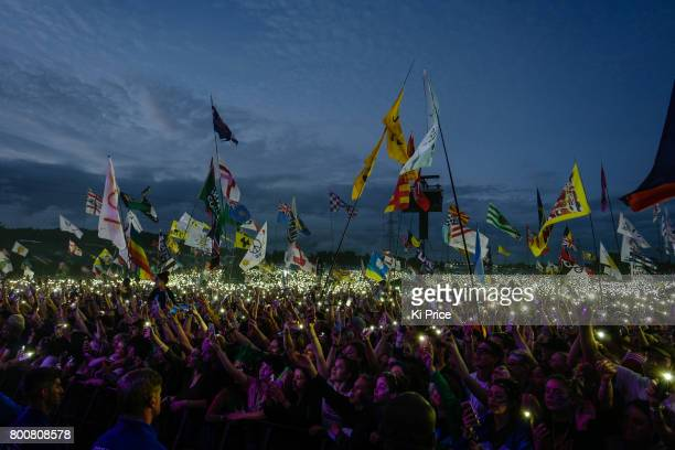 The crowd lights up as Ed Sheeran performs on the Pyramid stage on day 4 of the Glastonbury Festival 2017 at Worthy Farm Pilton on June 25 2017 in...