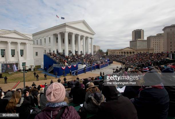 The crowd listens as Governor Ralph Northam delivers his inaugural address during the inaugural ceremony Saturday January 13 2018 in Richmond Virginia