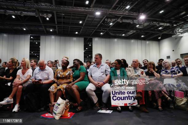 The crowd listens to Boris Johnson's speech at the final hustings of the Conservative leadership campaign at ExCeL London on July 17 2019 in London...