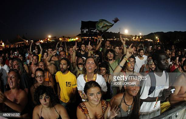 The crowd listens to performers at the Rototom Sunsplash European reggae festival in Benicassim on August 24 2010 The festival runs from August 21 to...
