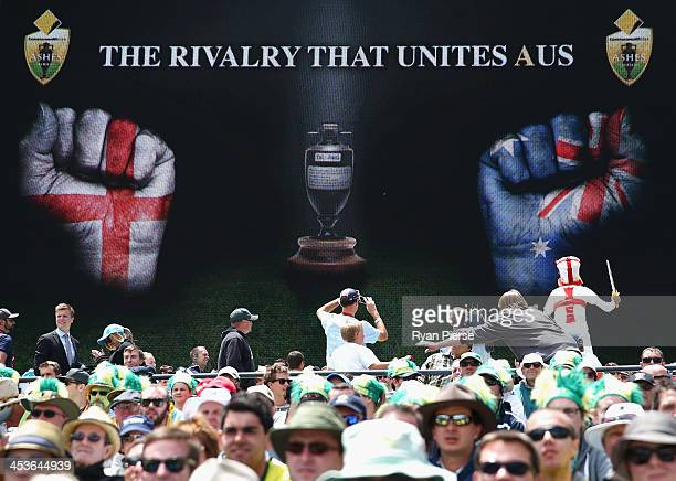 The crowd look on during day one of the Second Ashes Test Match between Australia and England at Adelaide Oval on December 5, 2013 in Adelaide,...