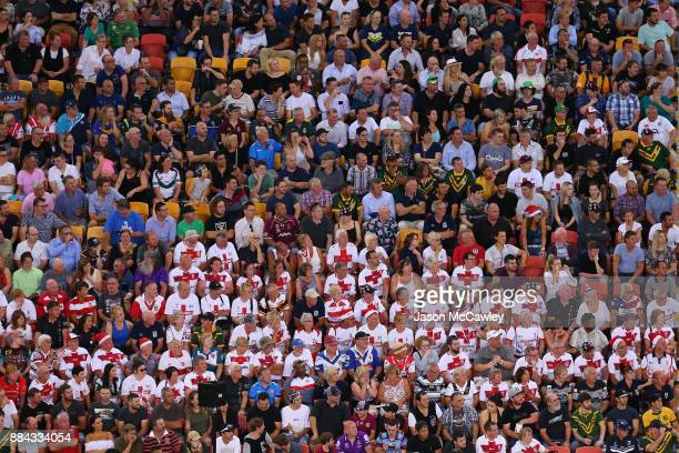 The crowd look on during the 2017 Rugby League World Cup Final between the Australian Kangaroos and England at Suncorp Stadium on December 2 2017 in...