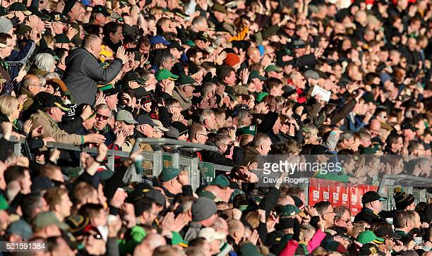 The crowd look on during the Aviva Premiership match between Northampton Saints and Leicester Tigers at Franklin's Gardens on April 16 2016 in...