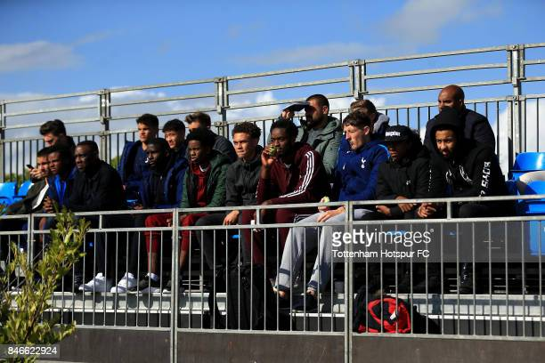 The crowd look on during the UEFA Youth Champions League group H match between Tottenham Hotspur and Borussia Dortmund on September 13 2017 in...