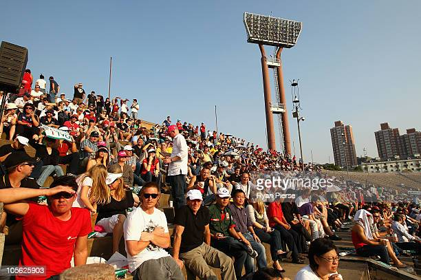The crowd looks on during the AFL Kaspersky Cup Shanghai Showdown match between the Brisbane Lions and the Melbourne Demons at Jiangwan Sports Centre...