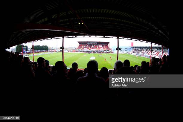 The crowd looks on during the BetFred Super League match between Hull KR and Hull FC at KCOM Craven Park on March 30 2018 in Hull England