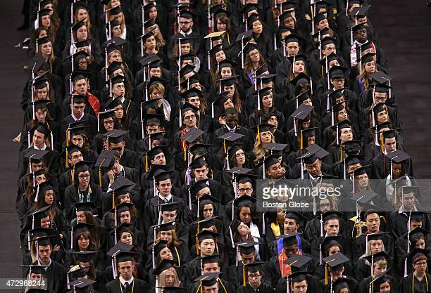 The crowd of faces during Northeastern University commencement at TD Garden the commencement speaker was ABC News anchor David Muir
