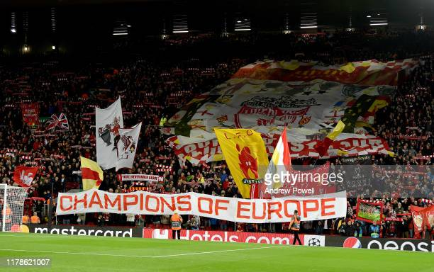 The Crowd of Liverpool during the UEFA Champions League group E match between Liverpool FC and RB Salzburg at Anfield on October 02 2019 in Liverpool...
