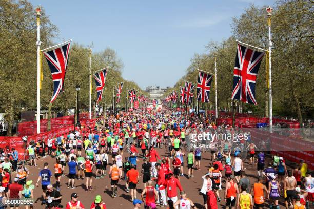 The crowd of marathon runners who crossed the finish line during the 2018 London Marathon in central London on April 22 2018