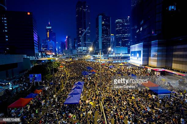 The crowd of protesters in 'Occupy Central' camp in Admirality, Hong Kong, on October 4, 2014. The 'Umbrella revolution' or 'Occupy Central' is a...