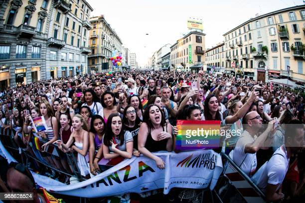 The crowd of The pop italian duo Benji&Fede during Milano Pride 2018. Two hundred thousand people walking on the street of Milan for gay, lesbian...