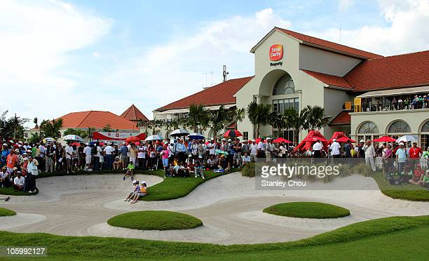 The crowd on the 18th green adjacent to the Club House during the Final Round of the Sime Darby LPGA on October 24 2010 at the Kuala Lumpur Golf and...