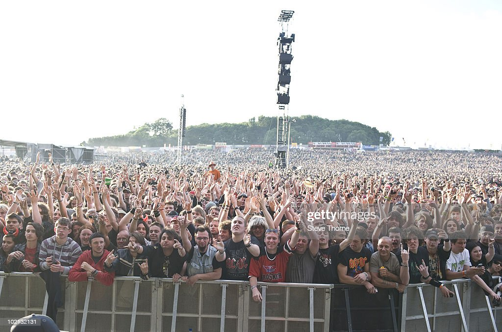 The crowd on the first day of Download Festival at Donington Park on June 11, 2010 in Derby, England.