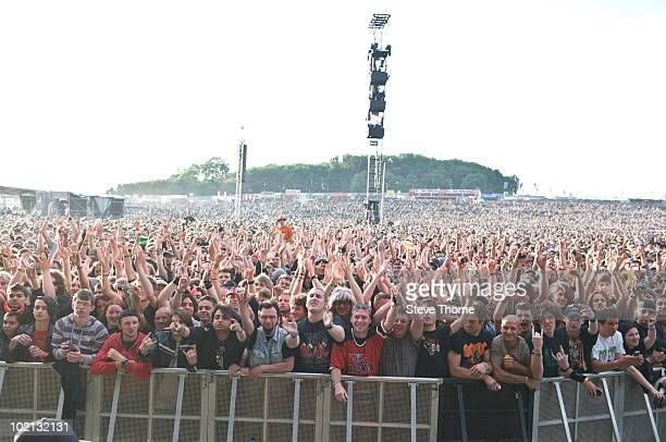 The crowd on the first day of Download Festival at Donington Park on June 11 2010 in Derby England