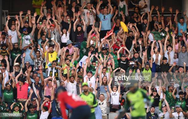 The crowd partake in a Mexican Wave in the stands during the 3rd Vitality T20 match between England and Pakistan at Emirates Old Trafford on July 20,...