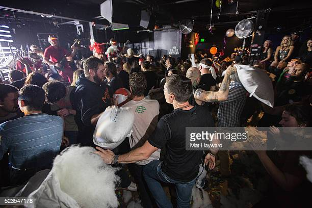 The crowd participated in a mosh pit pillow fight while Super Geek League performs at El Corazon on April 22 2016 in Seattle Washington