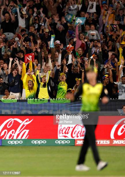 The crowd performs the Mexican Wave during the ICC Women's T20 Cricket World Cup Final match between India and Australia at the Melbourne Cricket...