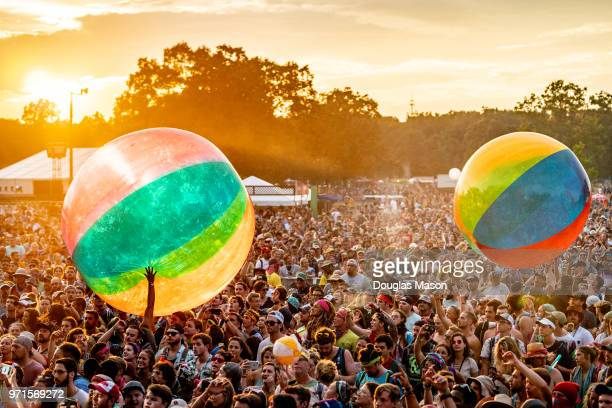The crowd plays with giant beach balls while Moon Taxi performs during the Bonnaroo Music and Arts Festival 2018 on June 10, 2018 in Manchester,...