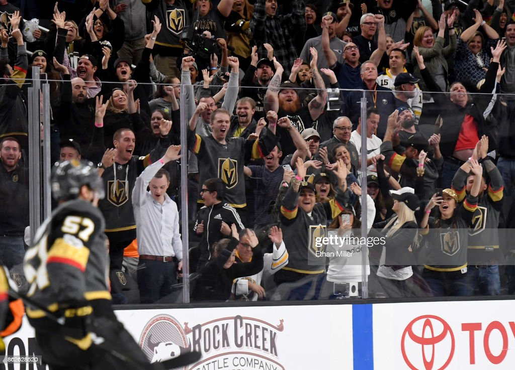The crowd reacts after David Perron #57 of the Vegas Golden Knights scored a game-winning goal in overtime against the Buffalo Sabres at T-Mobile Arena on October 17, 2017 in Las Vegas, Nevada. The Golden Knights won 5-4 in overtime.