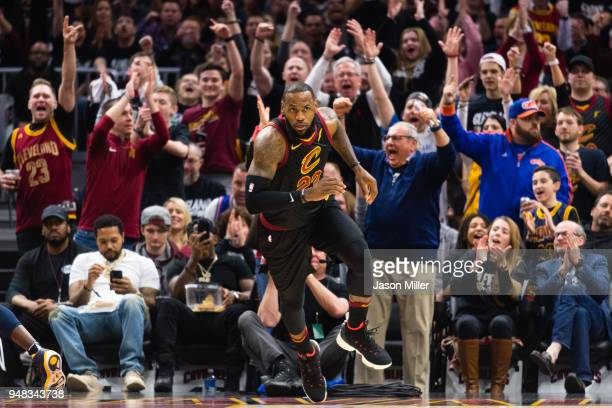 The crowd reacts after LeBron James of the Cleveland Cavaliers scored against the Indiana Pacers during the first half of Game 2 of the first round...