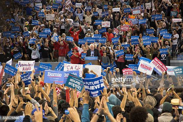 The crowd reacts as Democratic presidential candidate Sen Bernie Sanders informs them that he has won the Oregon primary during a campaign rally at...