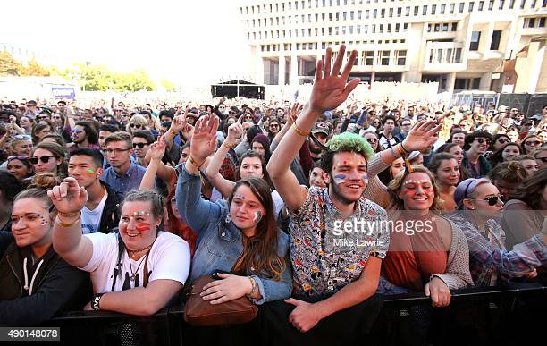 The crowd reacts as Doomtree performs onstage during day two of the Boston Calling Music Festival at Boston City Hall Plaza on September 26 2015 in...