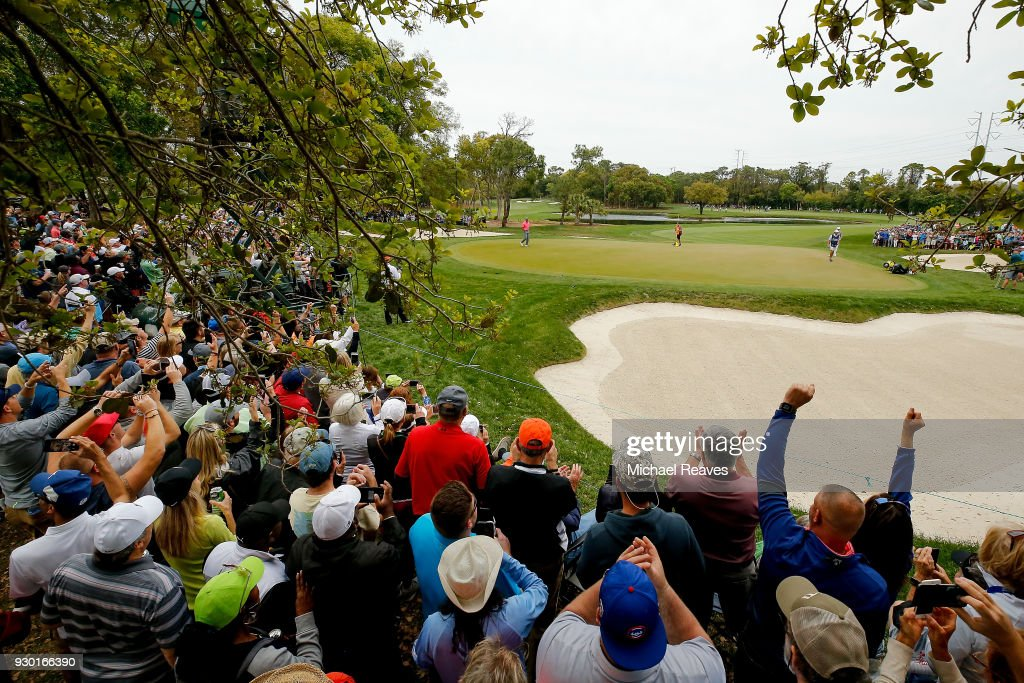 The crowd reacts as Tiger Woods makes a birdie putt on the third hole during the third round of the Valspar Championship at Innisbrook Resort Copperhead Course on March 10, 2018 in Palm Harbor, Florida.