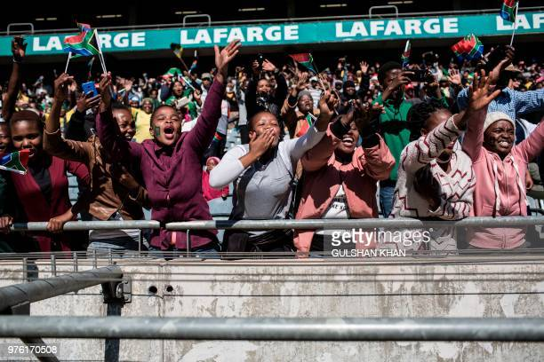 The crowd reacts to the South African President as he arrives at the 2018 National Youth Day Commemoration under the theme, 'Live the legacy: Towards...