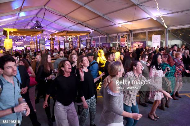 The crowd reacts to winners at the Food Network Cooking Channel New York City Wine Food Festival presented by CocaCola Rooftop Iron Chef Showdown...