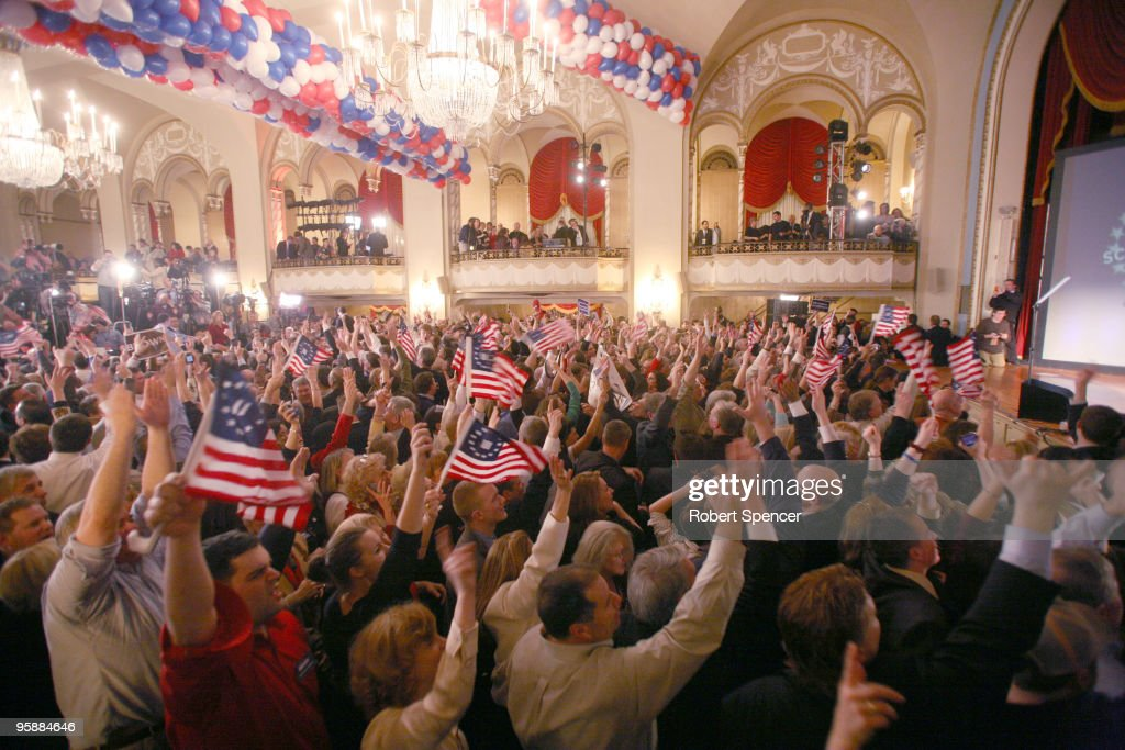 The crowd reacts to word that Democrat Martha Coakley had conceded the Senate race, at the Massachusetts Senator-elect Scott Brown victory celebration on January 19, 2010 in Boston, Massachusetts. Brown defeated Democrat Martha Coakley in a special election to fill the seat of late U.S. Senator Edward M. Kennedy.