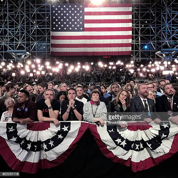 The crowd reacts while watching voting results at Democratic presidential nominee Hillary Clinton's election night event at the Jacob K Javits...