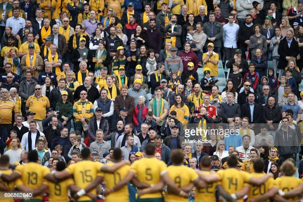 The crowd sing the national anthem before the International Test match between the Australian Wallabies and Scotland at Allianz Stadium on June 17...