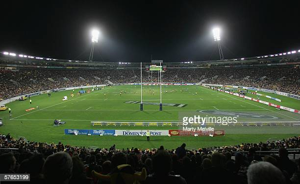 The crowd wait for the start of the Super 14 semifinal match between the Hurricanes and the NSW Waratahs at Westpac Stadium May 19 2006 in Wellington...