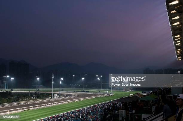 The crowd watch a race during the Longines Hong Kong International Races at Sha Tin Racecourse on December 10 in Hong Kong Hong Kong