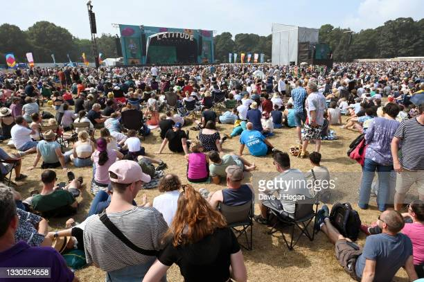 The crowd watch as Bill Bailey performs during Latitude Festival 2021 at Henham Park on July 25, 2021 in Southwold, England.