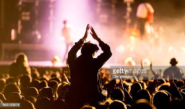 The crowd watch as on Frank Turner performs on the main stage headlining at the end of day 3 at Y Not Festival at Pikehall on August 3, 2014 in...
