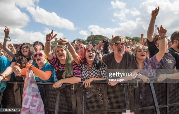 The crowd watch as Yungblud perform on stage during Leeds Festival 2019 at Bramham Park on August 23, 2019 in Leeds, England.