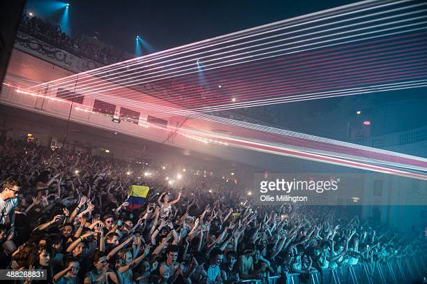 The crowd Watch on as Demitri Vegas Mike Like perform on stage at O2 Academy on May 4 2014 in Liverpool United Kingdom