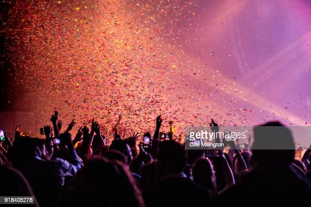 The crowd watch on as Galantis perform live on stage at The Roundhouse on February 14 2018 in London England