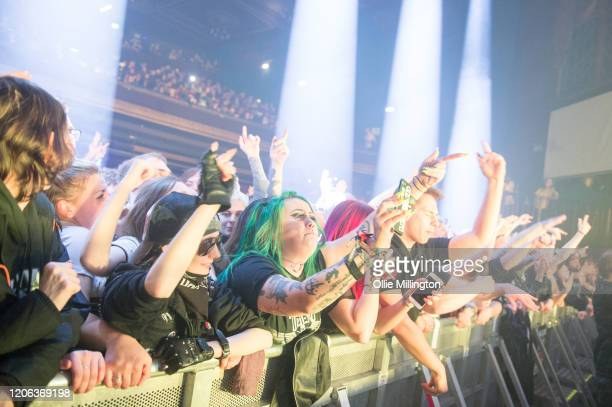 The crowd watch on as Hollywood Undead perform at O2 Forum Kentish Town on February 14 2020 in London England
