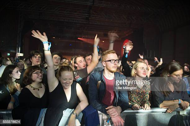 The crowd watch on as Jagwar Ma perform onstage at The Corn Exchange on Day 3 of The Great Escape 2016 on May 21 2016 in Brighton England