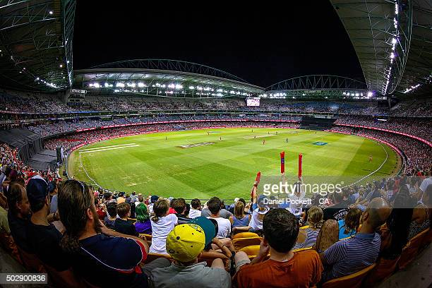 The crowd watch on during the Big Bash League match between the Melbourne Renegades and the Perth Scorchers at Etihad Stadium on December 30 2015 in...