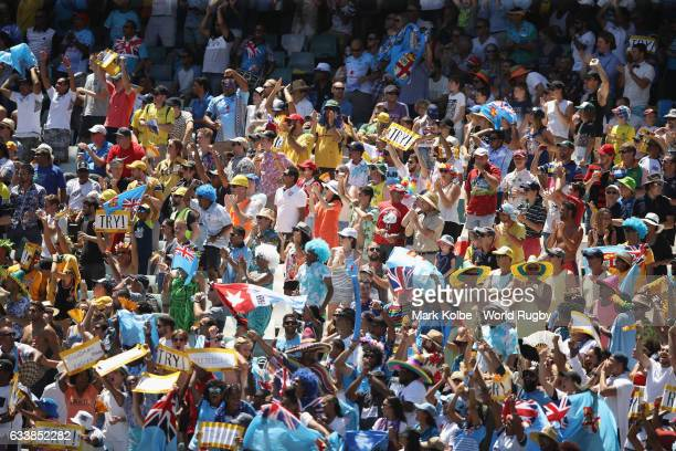 The crowd watch on during the Quarter final match between Fiji and New Zealand in the 2017 HSBC Sydney Sevens at Allianz Stadium on February 5 2017...